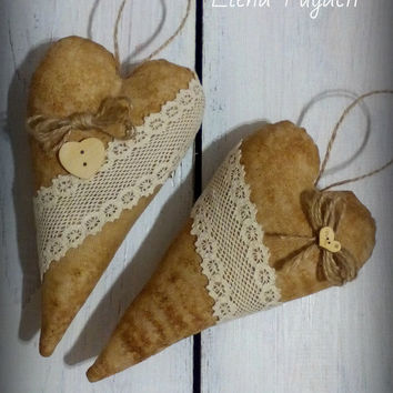 Free shipping worldwide Set of 2 flavored coffee textile hearts Rustic heart Home decor Tilda heart Gift for her Christmas gift