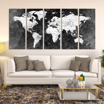 Push Pin Black World Map, Large Wall Art, Push Pin World Map, World Map Canvas, Wall Art Canvas, Push Pin Map, Black Wall Art, World Map,