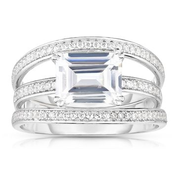Solitaire Emerald-Cut Diamond Simulant CZ Sterling Silver Engagement Ring