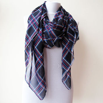 Scarf, Dark Blue Pink Stripes Plaid Wrap, Aztec Print Scarf, Spring Wrap, Women scarves, Women Accessories