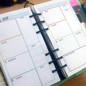Printed Personal size | Medium WO2P Week on 2 Pages | weekly planner refill - Printed Planner Inserts | personal size |  Kikki K Filofax etc