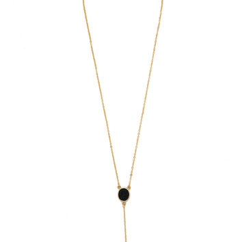 Drop Stone Necklace (Black / Gold) - Black / Gold