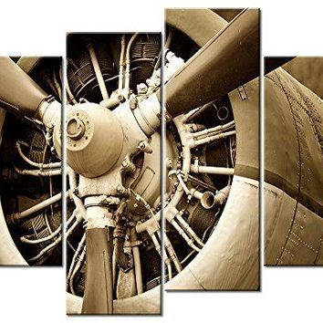 Canvas Prints Vintage Aircraft Art Wall Decor - 4 Panel Large Turbine Combat Fighter Plane Propeller Pictures Print on Canvas Antiquated Style Framed Ready to Hang Painting Canvas