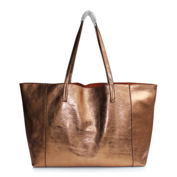 Bronze Distressed Leather Large Leather Tote. Metallic Large Shopper Bag. Weekend Bag. Genuine Leather