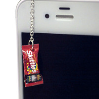 Kawaii SKITTLES CANDY Iphone Earphone Plug/Dust Plug - Cellphone Headphone Handmade Decorations