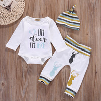 Newborn Baby Boys Girls Clothes Set Top Romper Cotton Long Pants Hat 3PCS Striped Baby Girl Clothing Outfits Set