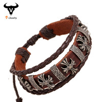 Ethnic Vintage Design Jewelry Gothic Cross Bracelet Lady Genuine Leather Braided Bracelet Bangle With Charm Womens Bracelet 2016