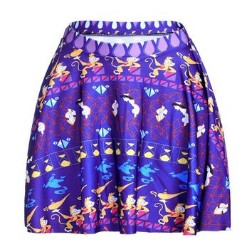 New Blue Monkey Women Sexy Pleated Skirts Tennis Bowling Bust Shorts Skirts Slim Cartoon Design Fitness Sports Apparel A Style