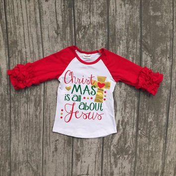 Christmas is all about yours cross baby girls children clothes red white ruffles top t-shirts raglans cotton boutique outfits
