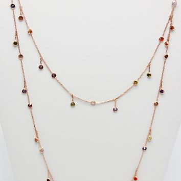 Multi Color Long Zircon Dangle Necklace 925 Sterling Silver