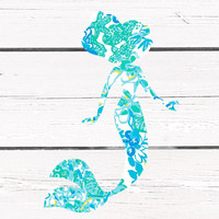 Lilly Pulitzer Mermaid Vinyl Decal For Yeti Tumblers, Cars, and Tech Devices