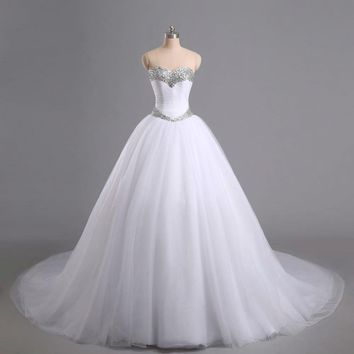 Ball Gown Wedding Dresses Sleeveless Beaded Tulle Formal Bridal Gowns