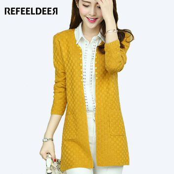 Refeeldeer Long Cardigan Female 2017 Spring Autumn Knitted Women Long Sleeve Cardigan Winter Sweater Women Yellow Black Blue