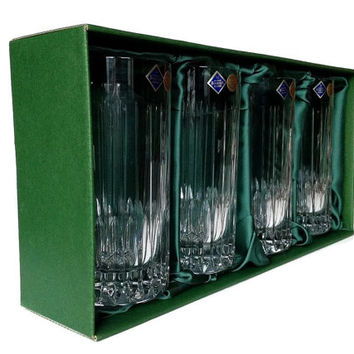Cut Crystal Highball Glasses, Set of Four in Original Box, Salisbury, Jihlavsky Sklarny