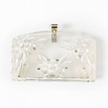 Vintage 50s Purse - Clear Molded LUCITE Rhinestone Clutch Bridal Bag - 1950s