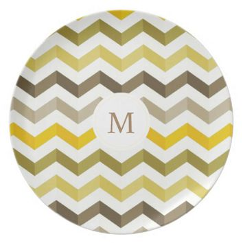 Yellow Monogram Chevron Pattern Plate