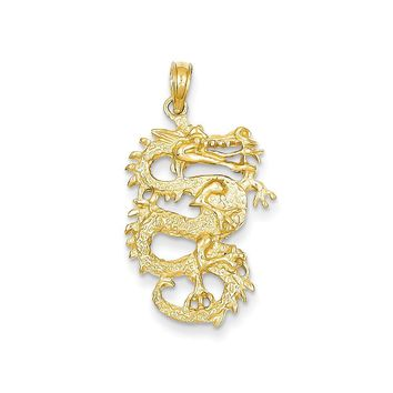 14k Yellow or White Gold Solid 3-Dimensional Dragon Pendant