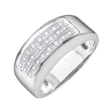 14kt White Gold Mens Princess Diamond Wedding Anniversary Band Ring 1/2 Cttw 15135