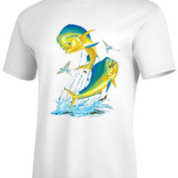 ANGLER WEAR SALTWATER FISHING T-SHIRT MARLIN MAHI MAHI DOLPHIN FISH