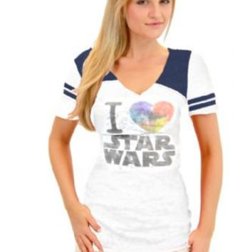 True Vintage I Heart Love Star Wars Juniors Burnout White and Navy T-shirt with Striped Sleeves - Star Wars - | TV Store Online