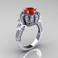 Classic Yeva 14K White Gold 1.0 CT Padparadscha Diamond Crown Solitaire Bridal Ring Y303C-14WGDPA