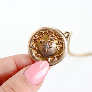 Antique 10k Rose Gold Diamond & Repousse Flower Locket Necklace - Late 1800s Art Nouveau Floral Victorian Monogrammed Fine Jewelry