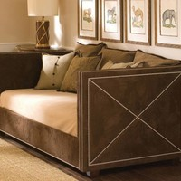 Harrison Twin Day Bed in Arizona Chocolate Fabric with Polished Nickel Nailheads