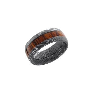 Damascus Steel Band Ring with Mexican Cocobolo Burl Wood Inlay