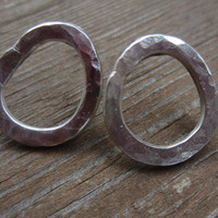 Silver Hoop Post Earrings, Organic Hoop Posts, Hammered Silver Earrings