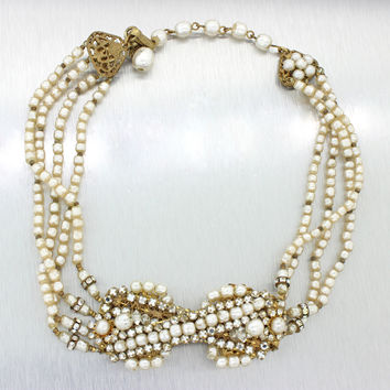 "MIRIAM HASKELL Modern Costume Yellow Gold Paste Pearl 12"" Choker Necklace"