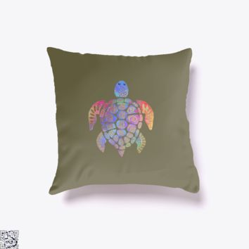 Sea Turtle Colorful Gold, Sea Turtles Throw Pillow Cover