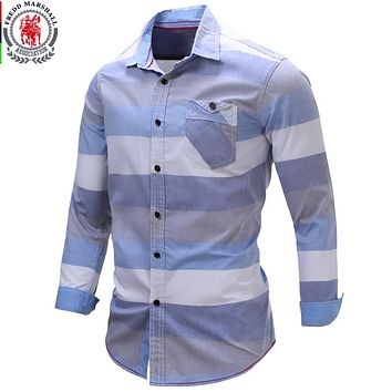 New Arrival Men's shirt  Striped Long Sleeve Plaid Shirts Men Dress Shirt Casual Denim Checks Shirts