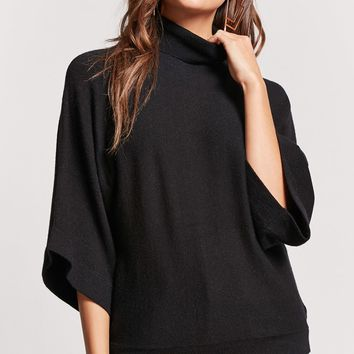 Dolman-Sleeve Turtleneck Sweater