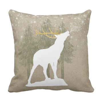 White Elk Throw Pillow