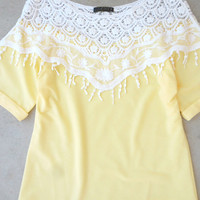 Yellow & Lace Top [7095] - $24.00 : Feminine, Bohemian, & Vintage Inspired Clothing at Affordable Prices, deloom