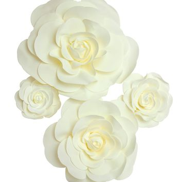 "Set of 4 Large Foam Rose Flower Heads in Ivory - 7.5-19"" Blooms"