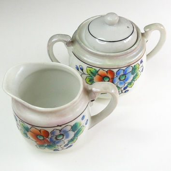 Vintage white creamer and sugar bowl with blue orange dogwood roses - Made in Japan - White creamer sugar set