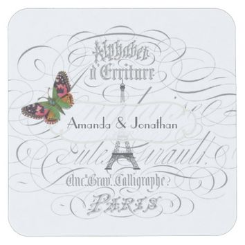 Vintage Paris Themed Wedding Party Personalized Square Paper Coaster