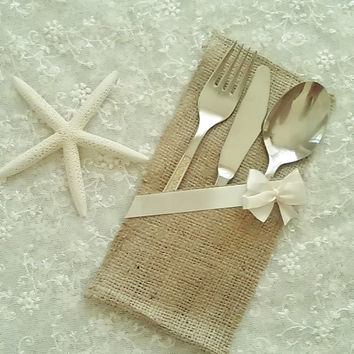 Burlap Silverware Holder / Pocket / Sleeve  Rustic wedding table decor