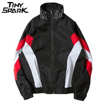 Full Zipper Windbreaker Jackets Coat Men Hip Hop Jacket Patchwork Geometric Vintage Track Jacket Street wear
