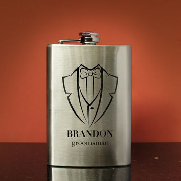 Personalized Stainless Steel Flask with Design Options and Font Selection with Monogrammed Shot Glass & Gift Wrap Options (Each-8 oz. Flask)