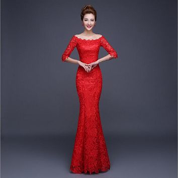 Sexy Women Half Sleeve Elegant Floor Length Party Lace 2017 Evening Dress Long Fishtail Mermaid/Trumpet Dress Slash Neck Red