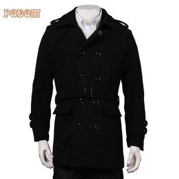 2017 Winter Warm Men's Long Business Smart Casual Trench Jackets Long Sleeve Double Breasted Belted Faux Woolen Coat Windbreaker