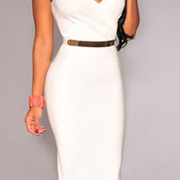 White Sleeveless V-Neck Dress