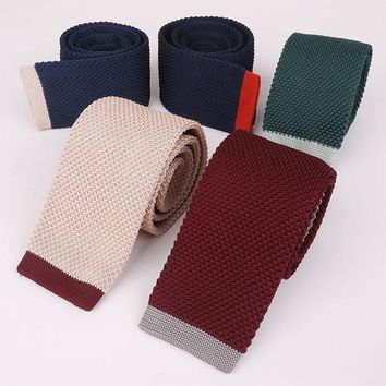 Mantieqingway 5cm Men's Suits Knitted Ties for Wedding Skinny Knitting Necktie Male Suits Woven Vestidos of Corbatas Collar Tie