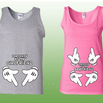 Couple Tank Top Property of my Boyfriend Girlfriend - Couple Matching Shirts -  Property of My Boyfriend Girlfriend Tank Couple Tee Tank Top