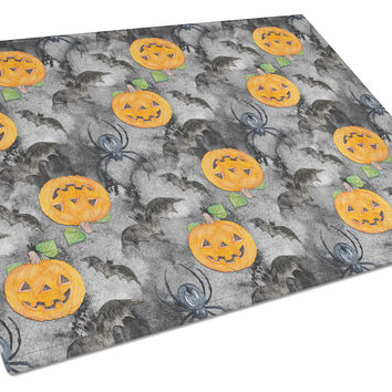 Watecolor Halloween Jack-O-Lantern Bats Glass Cutting Board Large BB7525LCB