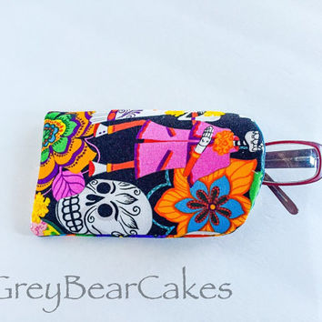 Dia De Los Muertos Eyeglasses Case, Fabric Eyeglasses Case, Soft Glasses Case, Padded Glasses Sleeve, Reading Glasses Case