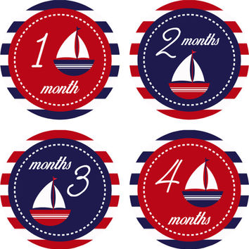 Monthly Baby Milestone Stickers Baby Boy Girl Nautical Sailboat Shower Gift One-Piece Baby Stickers Monthly Baby Stickers Baby Month Sticker