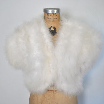 1980s Ostrich Feather Bolero / white jacket / Neiman Marcus / bridal wedding